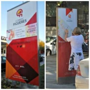 Nous tòtems corporatius de Comerç Figueres a la ciutat.