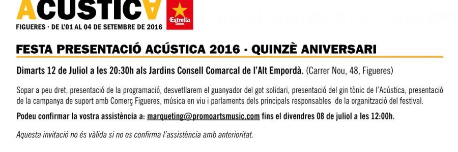 Només per associats, invitació a la Festa Presentació de l'Acústica 2016.
